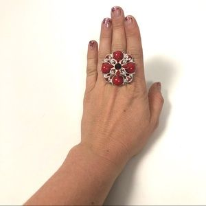 Jewelry - ring stretch Red silver floral adjustable band